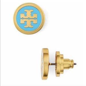 🔵 Tory Burch blue logo stud earrings 🔵